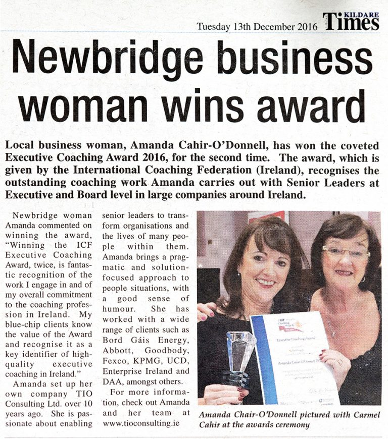 Amanda Cahir-O'Donnell - Newbridge Business Woman Wins Award