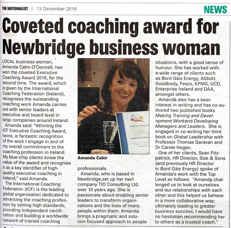 Amanda Cahir-O'Donnell - Coveted Coaching Award for Newbridge Business Woman (13/12/16)